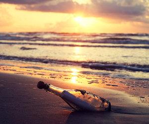 beach, sunset, and bottle image