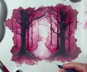art, forest, and pink image