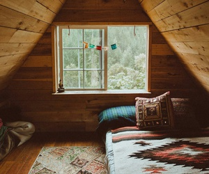 bedroom, cabin, and nature image
