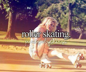 girl, roller skating, and just girly things image