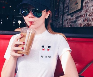meredith foster, coffee, and sunglasses image