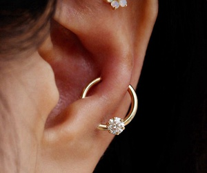 piercing, ear piercing, and opal image