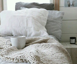 bed, blankets, and coffee image