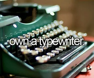 bucket list, girl, and typewriter image