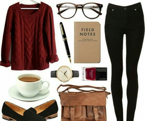 coffe, outfit, and sweater image