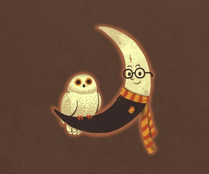 harry potter, moon, and owl image