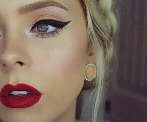 makeup, red, and beauty image