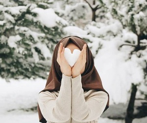 heart, snow, and hijab image