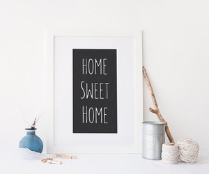 black and white, home sweet home, and minimalist wall art image