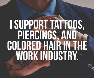 tattoo, piercing, and colored hair image