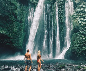 couple, summer, and waterfall image