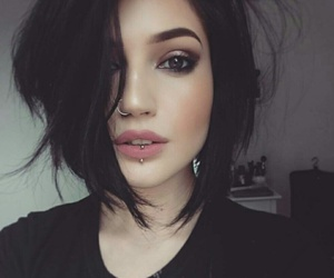 girl, nose piercing, and nostril image