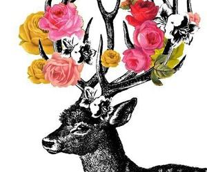 flowers, deer, and wallpaper image