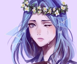 anime, flower crown, and purple image