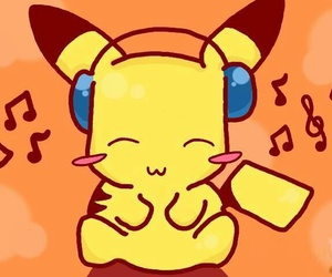 pikachu, music, and pokemon image
