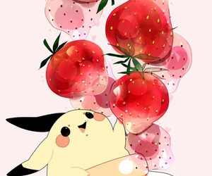 pikachu, strawberry, and anime image