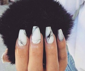 nails, marble, and black image