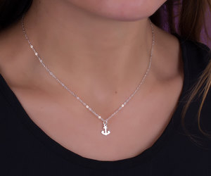 anchor necklace, nautical jewelry, and sterling silver necklace image
