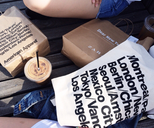 shopping, american apparel, and coffee image