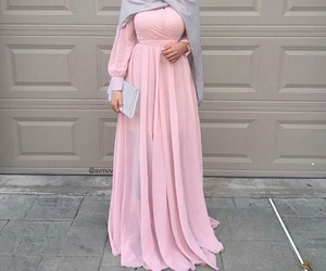 hijab, dress, and pink image