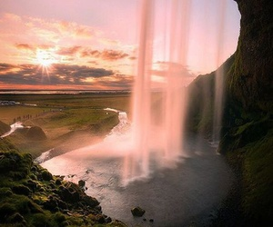 waterfall, mountains, and sunset image