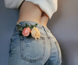 flowers, jeans, and rose image