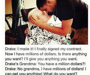 Drake, grandma, and hug image