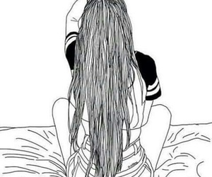 girl, outline, and hair image