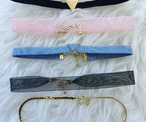 black choker necklace, gold choker necklace, and mesh choker necklace image