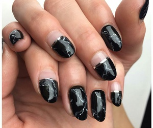 marble nails, black marble nails, and almond marble nails image