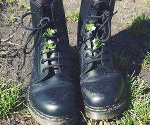 boots, black, and flowers image