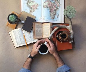 travel, coffee, and book image