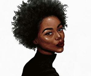 art, curly hair, and melanin image