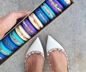 food, shoes, and macaroons image