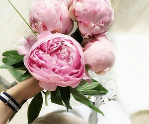 flowers, outfit, and peony image