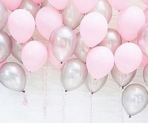 pink, balloons, and silver image