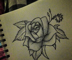 art, drawing, and roses image
