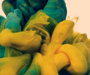 art, blue, and yellow image