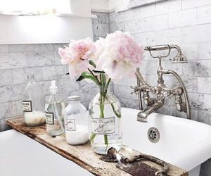 flowers, bathroom, and decor image