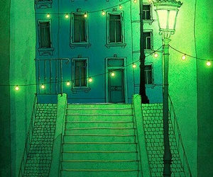 green, night, and art image
