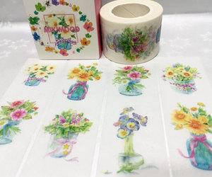 flower print, flower sticker, and flower label image