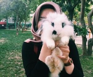 hijab, rabbit, and hijâbi image