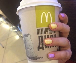 bright colors, manicure, and coffee image