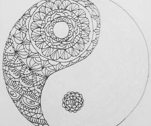 b&w, mandala, and yinyang image