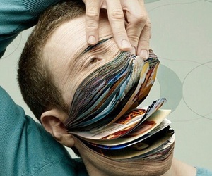 book, face, and art image