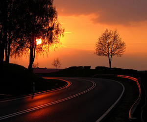 photography, sunset, and road image
