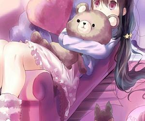anime, art girl, and bear image