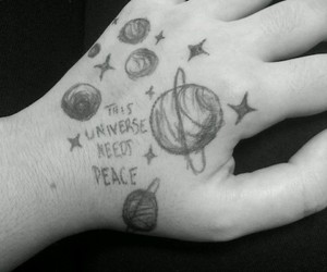 black and white, peace, and galaxy image