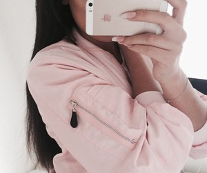 girl, pink, and iphone image