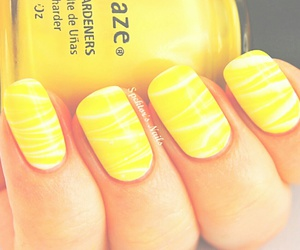 nails, yellow, and white image